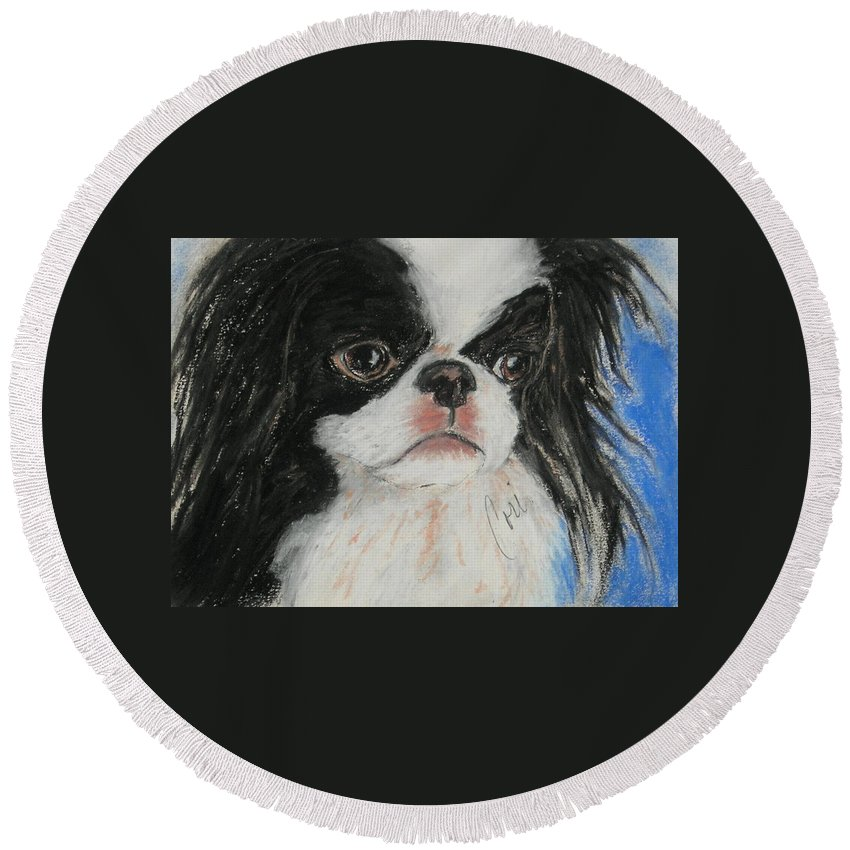 Japanese Chin Round Beach Towel featuring the drawing Chin-sational by Cori Solomon
