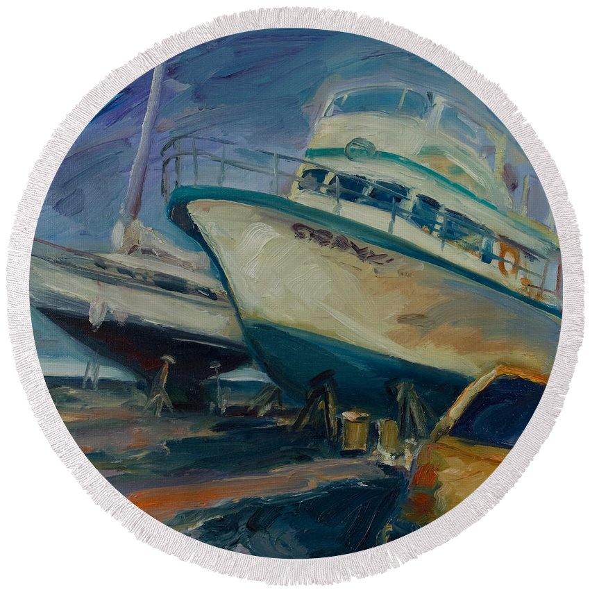 Boats Round Beach Towel featuring the painting China Basin by Rick Nederlof