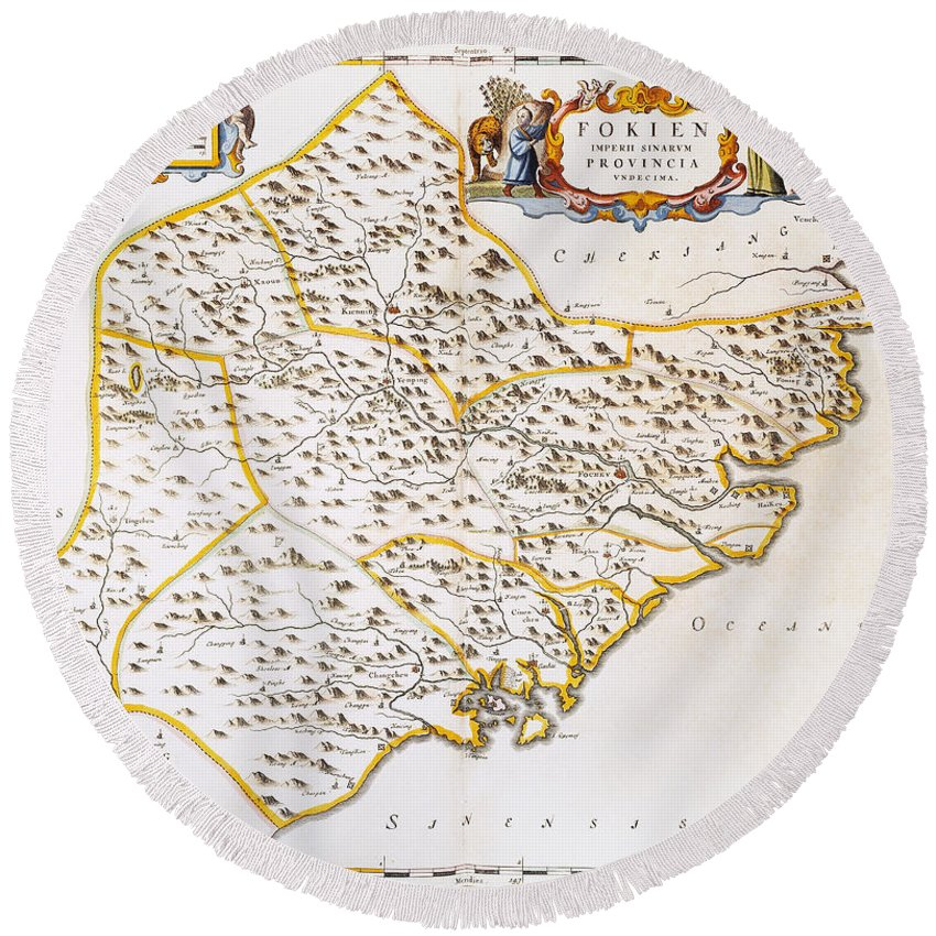 1662 Round Beach Towel featuring the photograph China: Fujian Map, 1662 by Granger