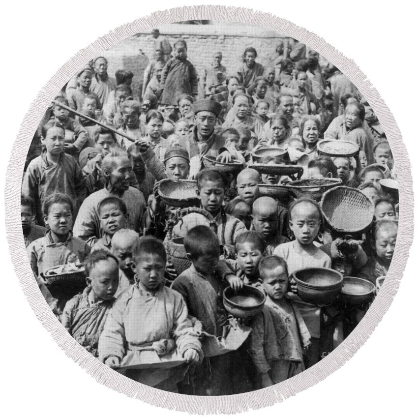 1902 Round Beach Towel featuring the photograph China: Peking, C1902 by Granger