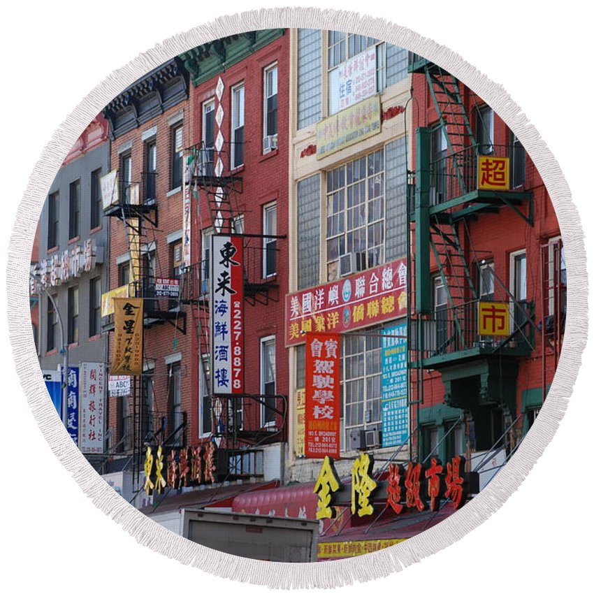 Architecture Round Beach Towel featuring the photograph China Town Buildings by Rob Hans