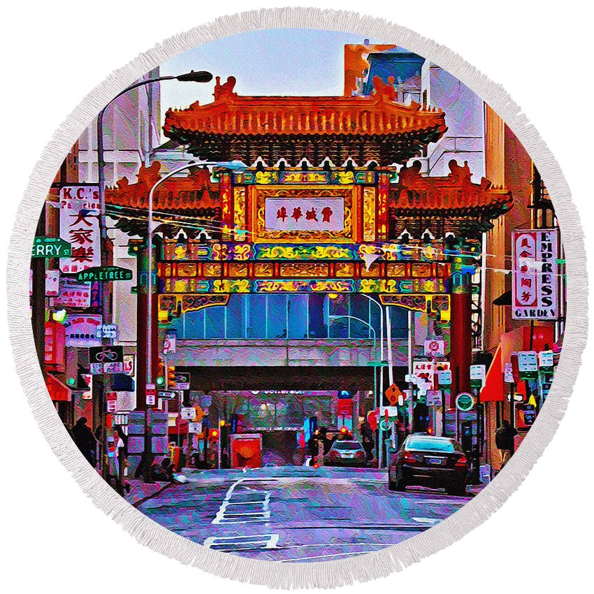 Chinatown Arch Philadelphia Round Beach Towel featuring the photograph Chinatown Arch Philadelphia by Bill Cannon