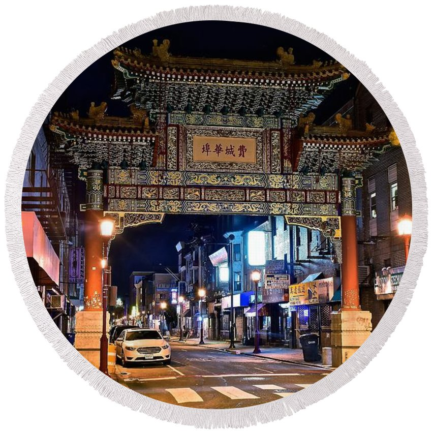 Philadelphia Round Beach Towel featuring the photograph Chinatown In Philadelphia by Frozen in Time Fine Art Photography