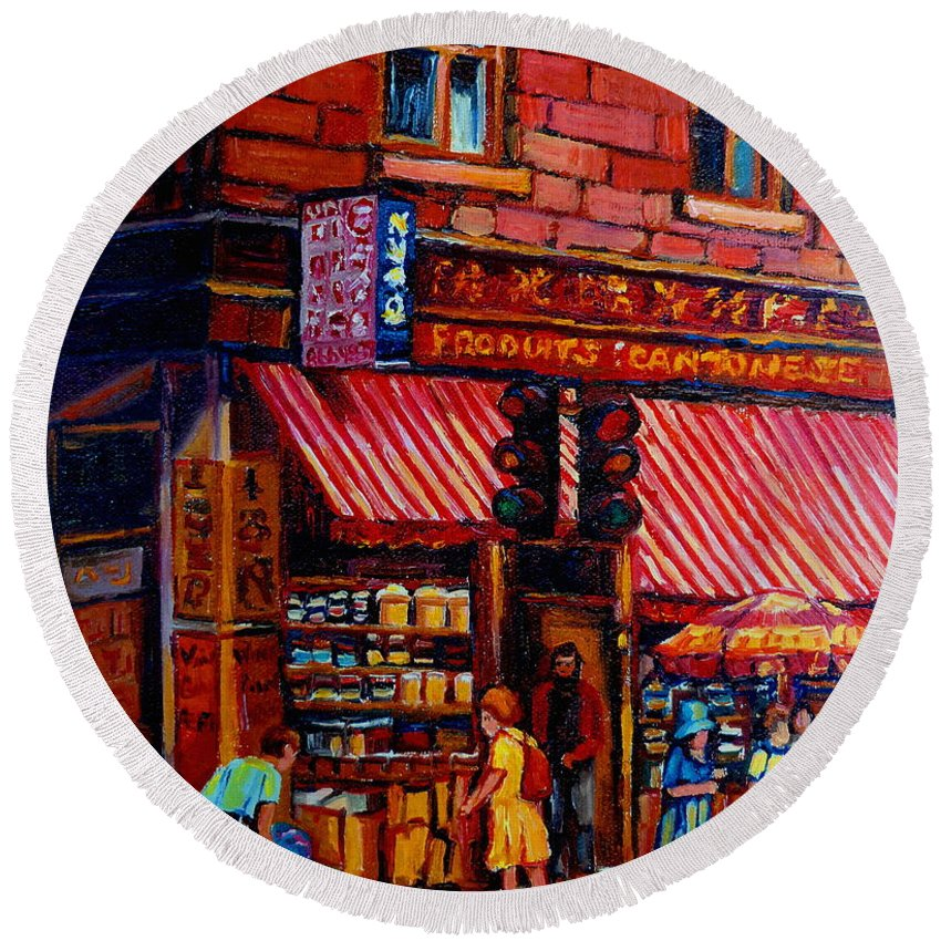 Chinatown Round Beach Towel featuring the painting Chinatown Montreal by Carole Spandau