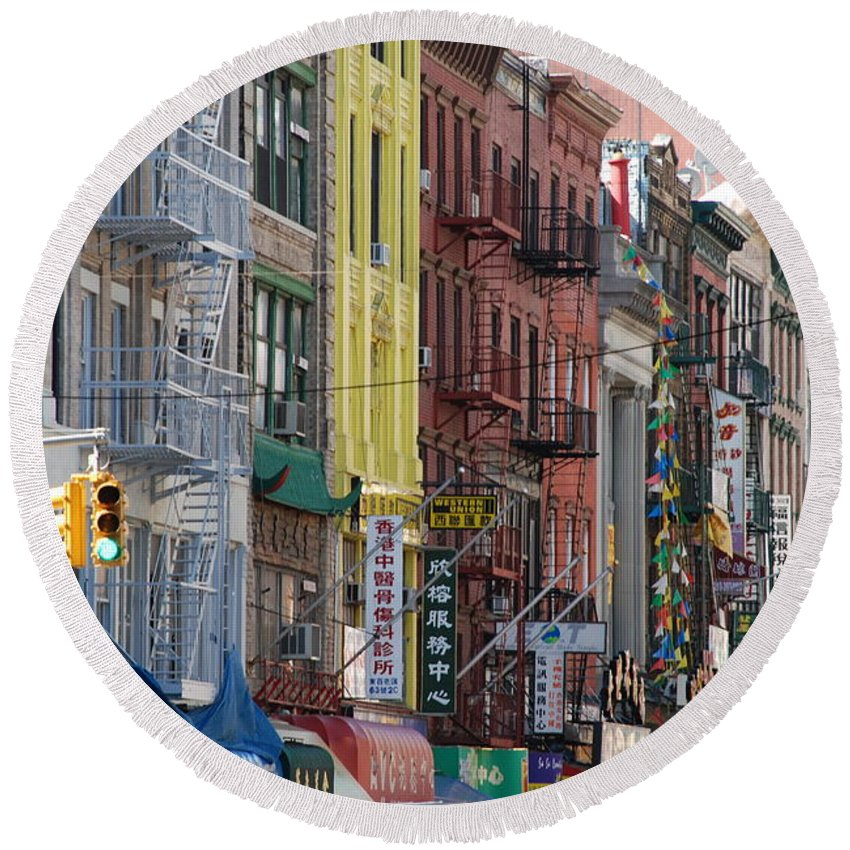 Architecture Round Beach Towel featuring the photograph Chinatown Walk Ups by Rob Hans