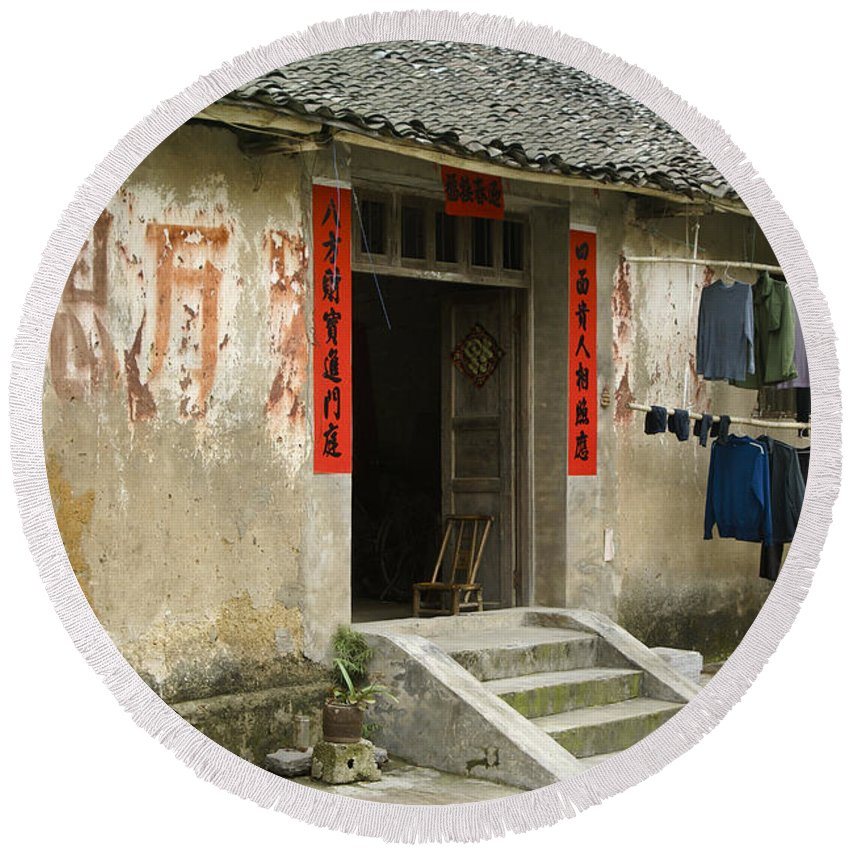 Asia Round Beach Towel featuring the photograph Chinese Laundry by Michele Burgess