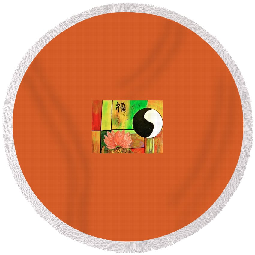 Yin Yang Round Beach Towel featuring the painting Chinese Medicine by Kathy Othon