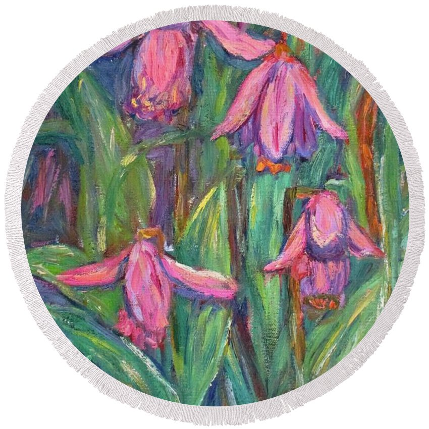 Floral Round Beach Towel featuring the painting Chinese Orchids by Kendall Kessler