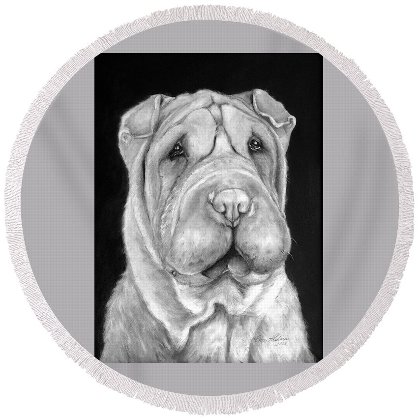 Sharpei Round Beach Towel featuring the painting Chinese Sharpei by Portraits By NC