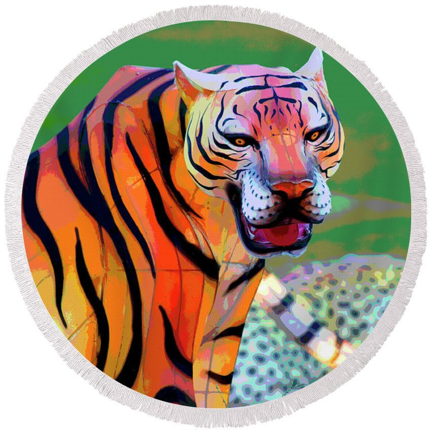 New York State Chinese Lantern Festival Round Beach Towel featuring the digital art Chinese Tiger 2 by David Stasiak