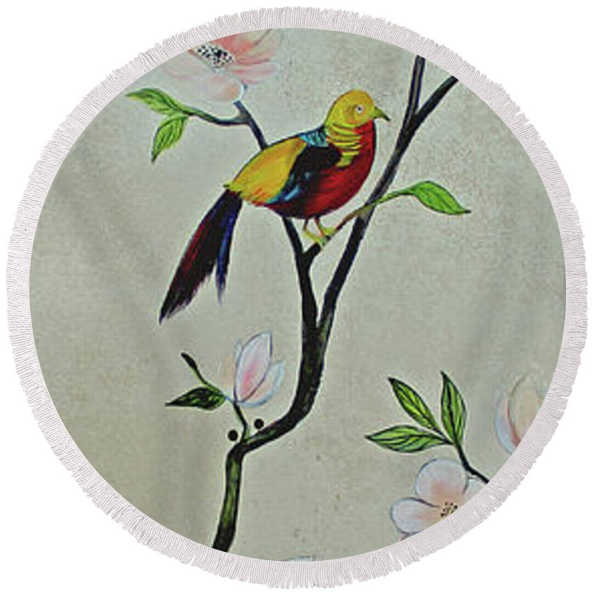 Peacock Peacocks Bird Birds Pattern Patterns Flowers Pink Green Leaf Leafy Leaves Vine Vines Ivy Plant Plants Fabric Fabrics Design Chinoiserie Panels Groupings Pheasant Flower Magnolia Golden Pheasant Butterfly Transitional Cardinal Red Bird Blue Bird Jay Peach Green Humming Bird And Blue Jay Round Beach Towel featuring the painting Chinoiserie - Magnolias And Birds #1 by Shadia Derbyshire