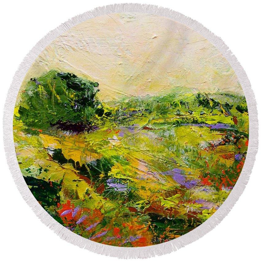 Landscape Round Beach Towel featuring the painting Chippenham by Allan P Friedlander