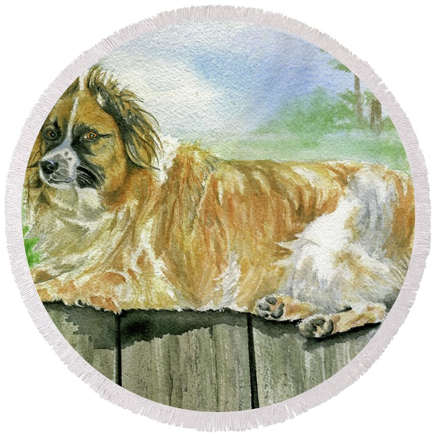 Dog Round Beach Towel featuring the painting Chisel by Mary Tuomi