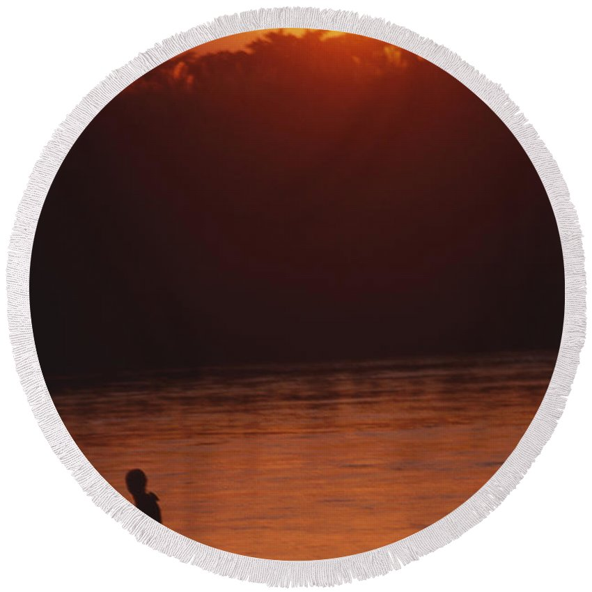 Sunset Round Beach Towel featuring the photograph Chitwan Sunset by Patrick Klauss