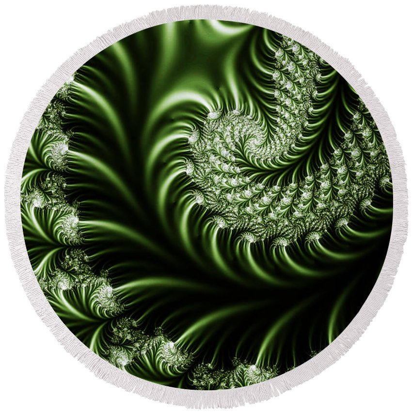 Clay Round Beach Towel featuring the digital art Chlorophyll by Clayton Bruster