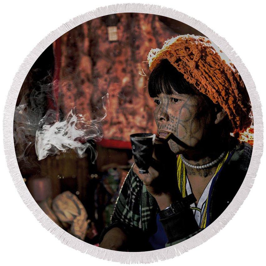 Magan Chin Round Beach Towel featuring the photograph Cho Chin Woman Smoking by Dan Yeger