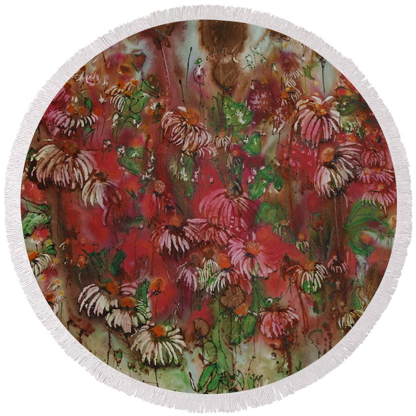 Floral Round Beach Towel featuring the painting Chocolate Dreams by Shirley Sykes Bracken