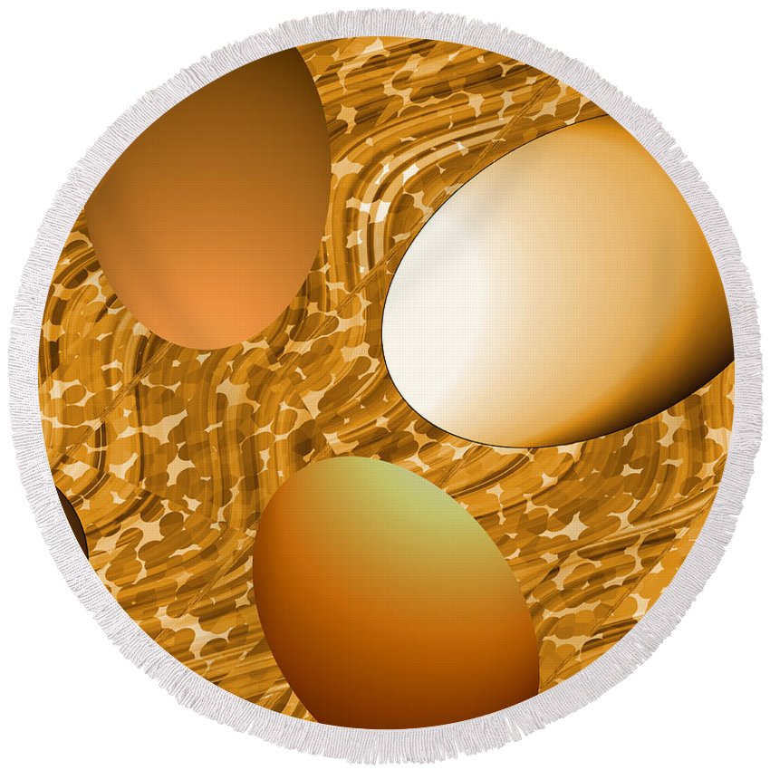 Eggs Round Beach Towel featuring the digital art Chocolate Eggs by Ruth Palmer