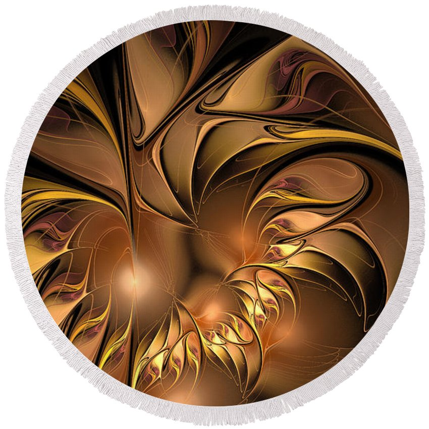 Digital Round Beach Towel featuring the digital art Chocolate Essence by Deborah Benoit
