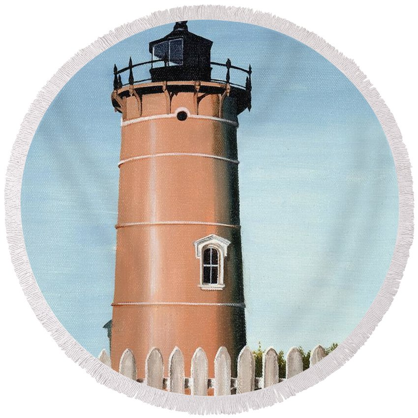Lighthouse Round Beach Towel featuring the painting Chocolate Lighthouse by Mary Rogers