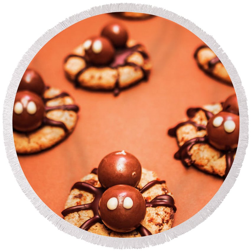 Halloween Round Beach Towel featuring the photograph Chocolate Peanut Butter Spider Cookies by Jorgo Photography - Wall Art Gallery