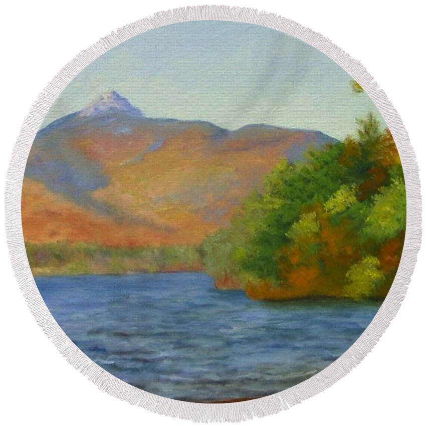 Mount Chocorua And Chocorua Lake Round Beach Towel featuring the painting Chocorua by Sharon E Allen