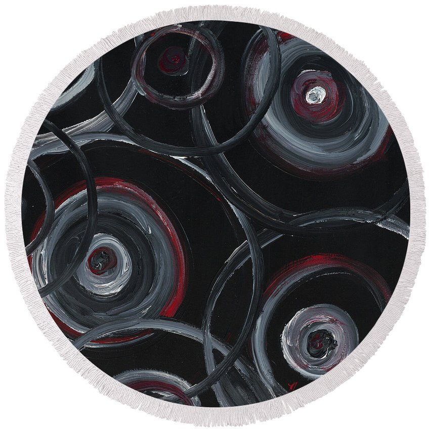 Circles Round Beach Towel featuring the painting Choices In Black by Nadine Rippelmeyer