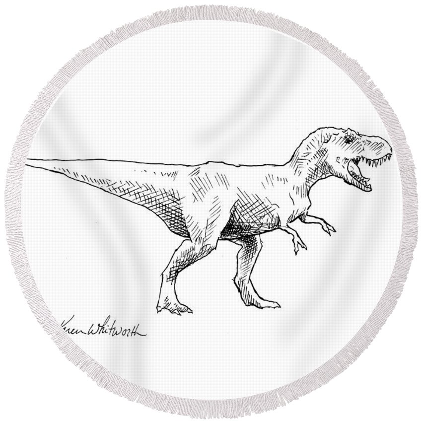 Tyrannosaurus Rex Dinosaur T Rex Ink Drawing Illustration Round