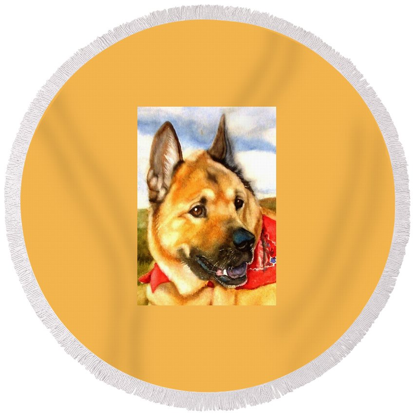 Chow Round Beach Towel featuring the painting Chow Shepherd Mix by Marilyn Jacobson