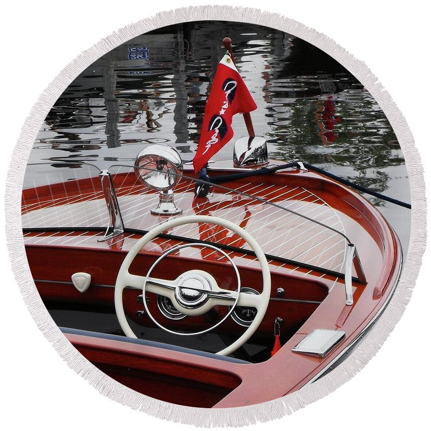 Boat Round Beach Towel featuring the photograph Chris Craft Sportsman by Neil Zimmerman