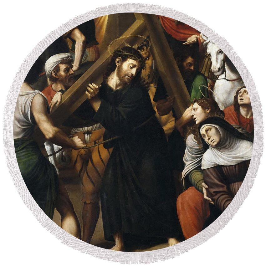 Vicente Juan Masip Round Beach Towel featuring the painting Christ Carrying The Cross by Vicente Juan Masip