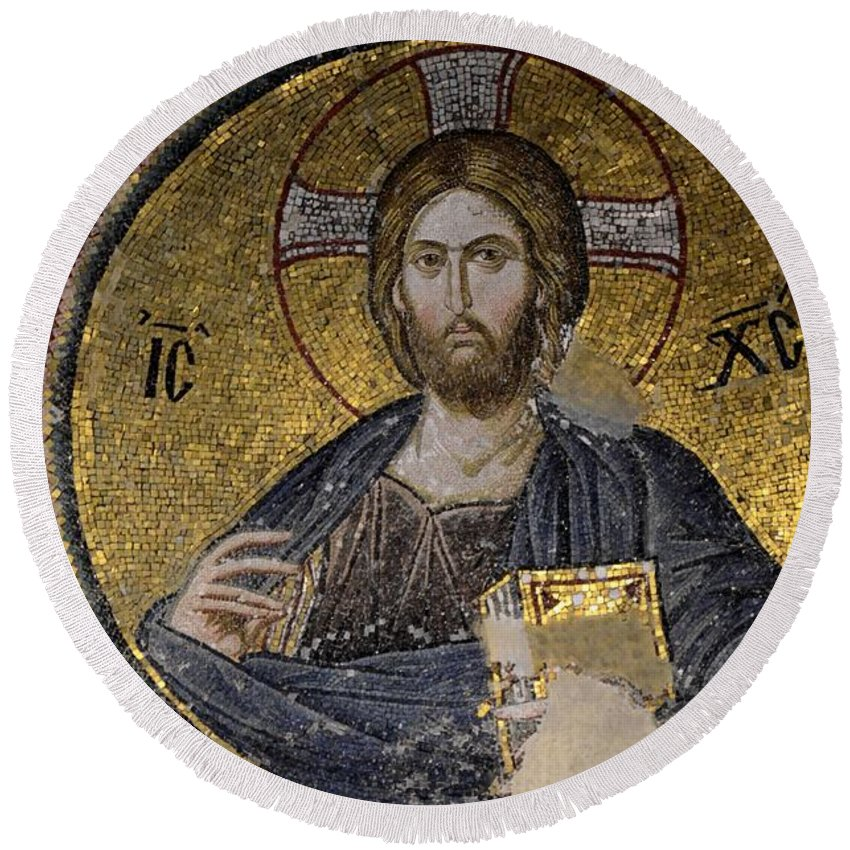 Christ Round Beach Towel featuring the photograph Christ Holds Bible In Mosaic At Chora Church Istanbul Turkey by Imran Ahmed