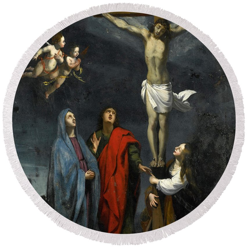 Follower Of Jacques Stella Round Beach Towel featuring the painting Christ On The Cross With Saint John And Mary Magdalene by Follower of Jacques Stella