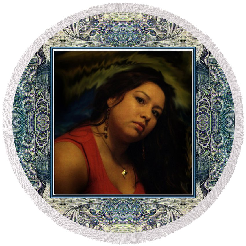 Portrait Glamour Fantasy Muse Round Beach Towel featuring the digital art Christan Cameo by Otto Rapp