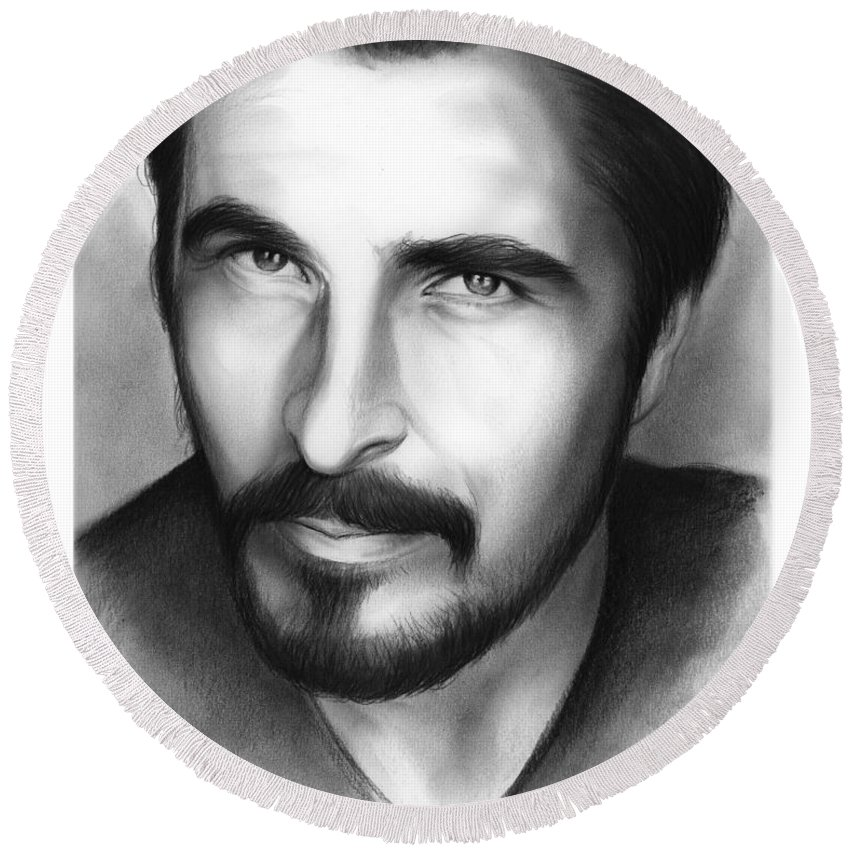 Christian Bale Round Beach Towel featuring the drawing Christian Bale by Greg Joens