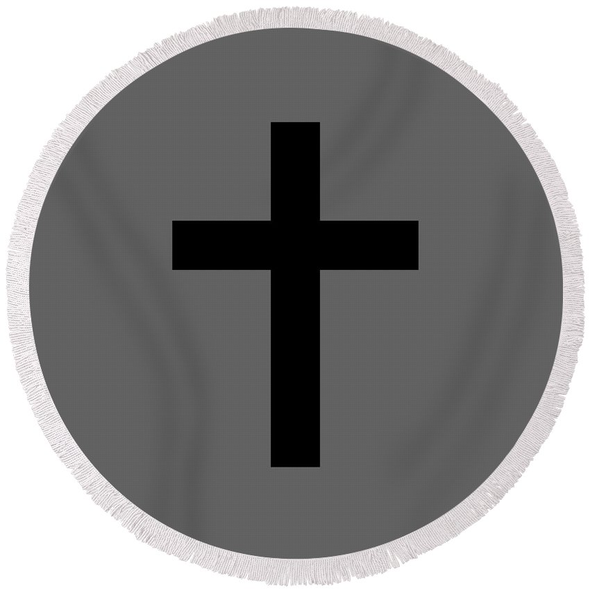 Religion Round Beach Towel featuring the digital art Christian Cross by Frederick Holiday