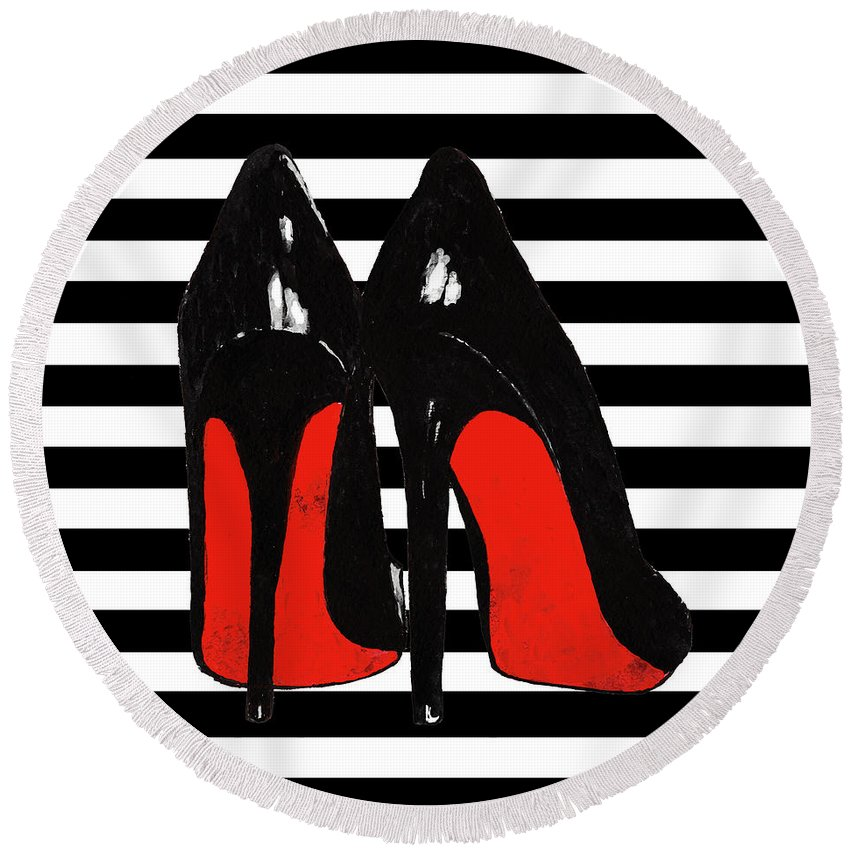 b236c30e50ef Christian Louboutin Shoes Round Beach Towel featuring the painting  Christian Louboutin Shoes Black by Del Art