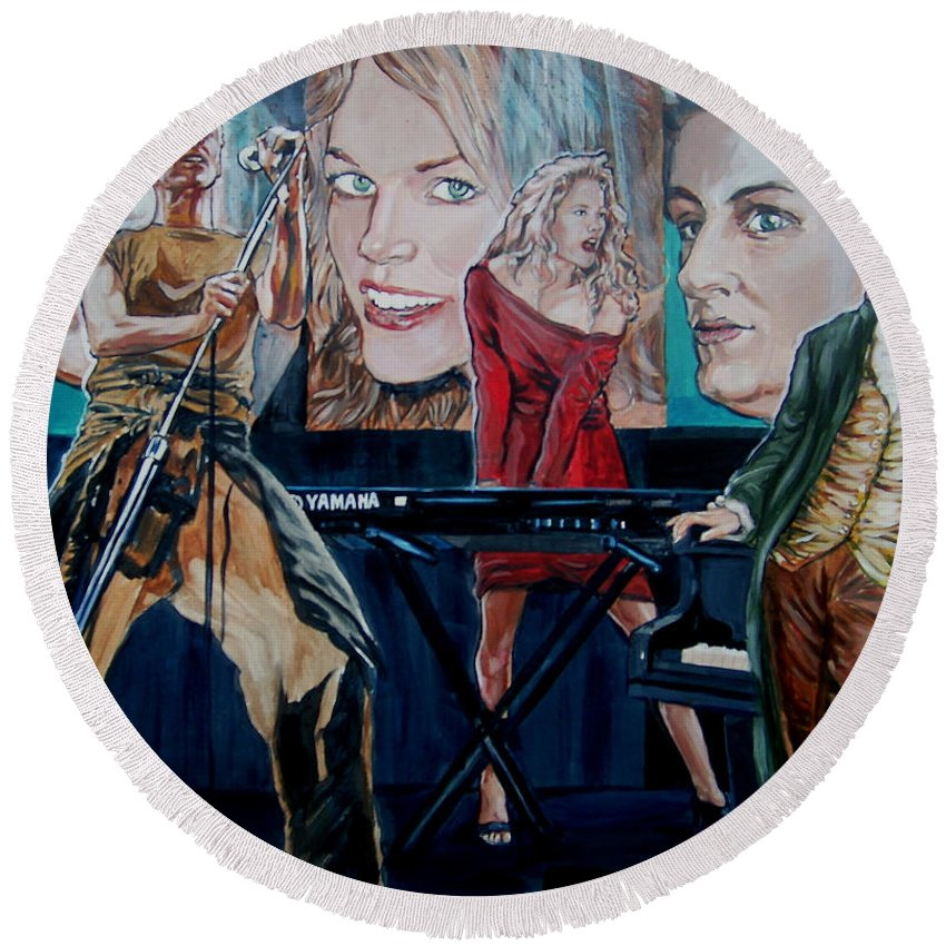 Christine Anderson Round Beach Towel featuring the painting Christine Anderson Concert Fantasy by Bryan Bustard