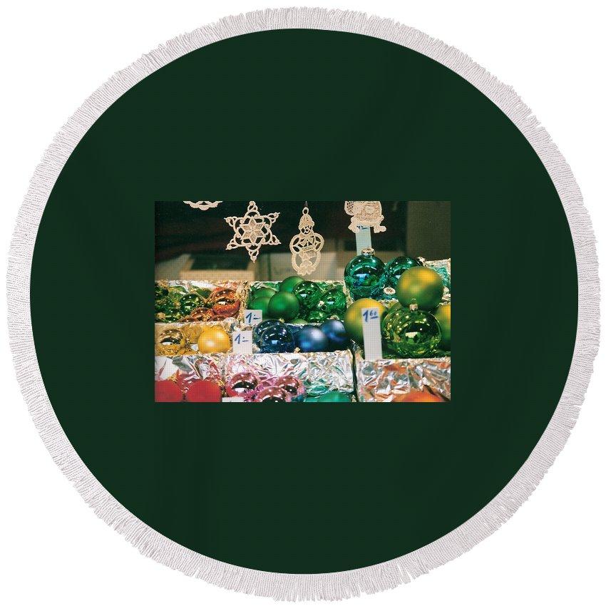 Christmas Round Beach Towel featuring the photograph Christkindlmarkt Vienna Ornaments by Lauri Novak