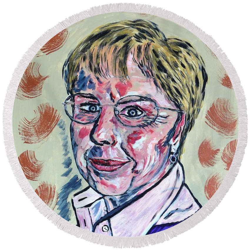 Portrait Round Beach Towel featuring the painting Christl by Valerie Ornstein