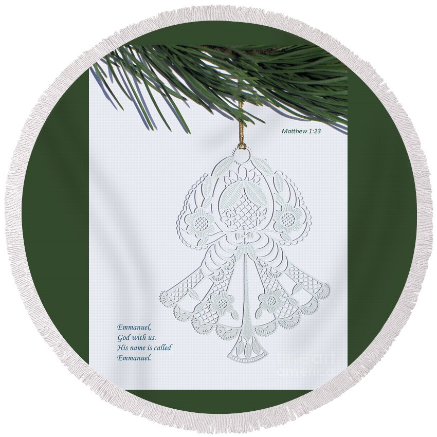 Christmas Round Beach Towel featuring the photograph Christmas Angel by Ann Horn