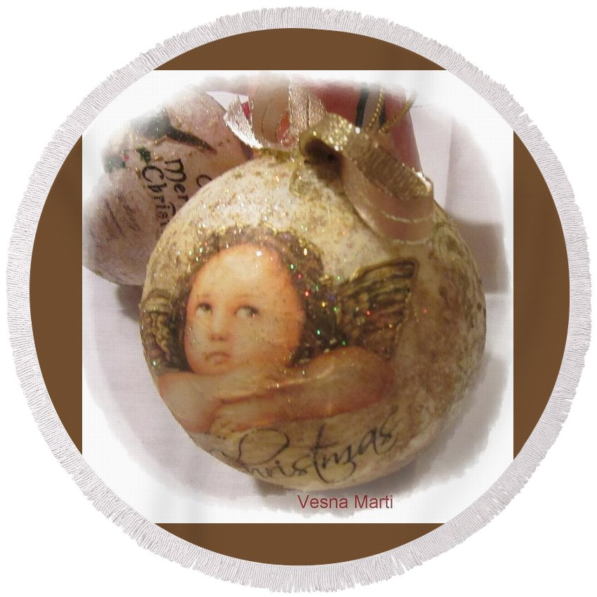 Christmas Round Beach Towel featuring the mixed media Christmas Ball , Angels by Vesna Martinjak