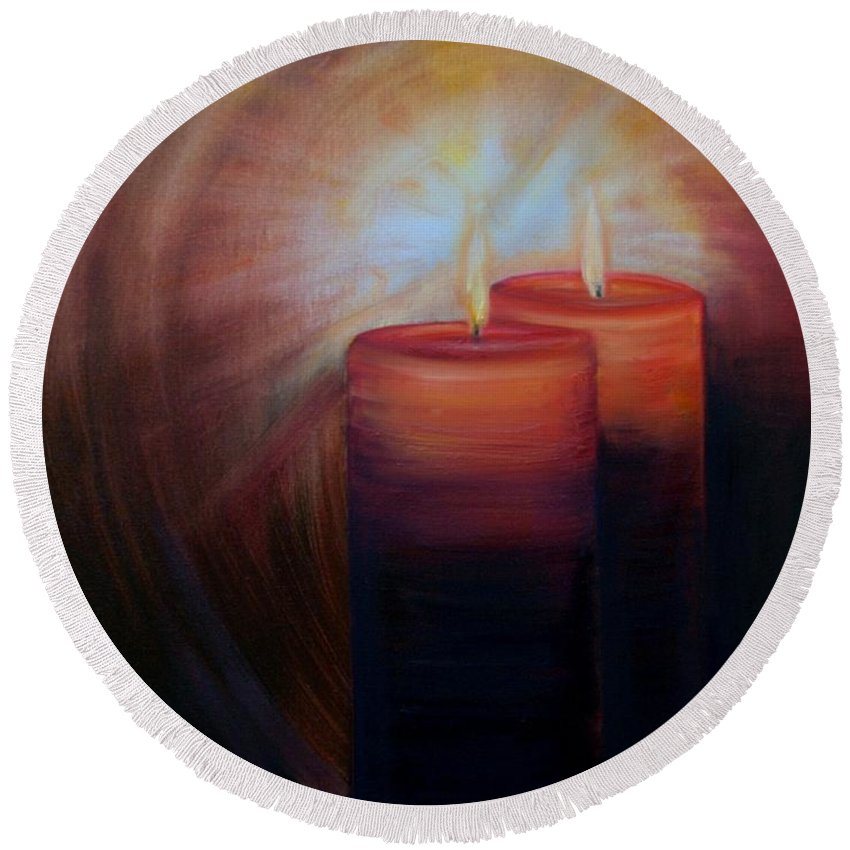 Christmas Candles Round Beach Towel featuring the painting Christmas Candles by Laurel Moore