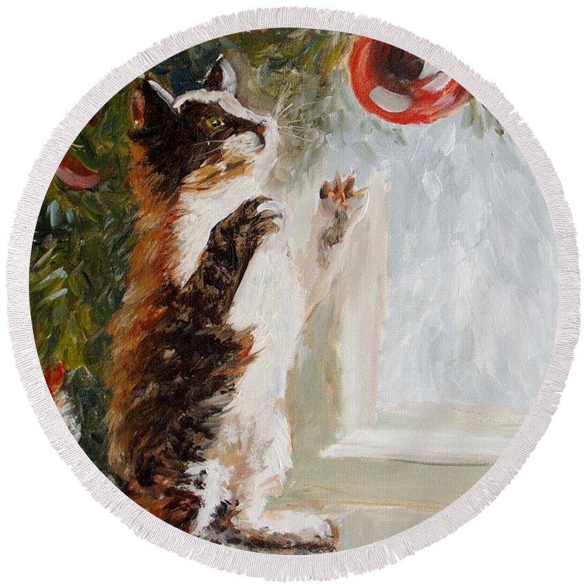 Christmas Round Beach Towel featuring the painting Christmas Cat by Elena Sokolova