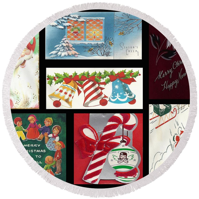 Round Beach Towel featuring the digital art Christmas Collage by Cathy Anderson