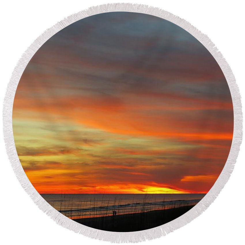 Beach Round Beach Towel featuring the photograph Christmas Day Sunset by Betty Buller Whitehead