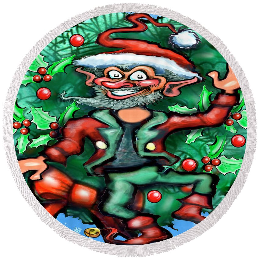 Christmas Round Beach Towel featuring the digital art Christmas Elf by Kevin Middleton