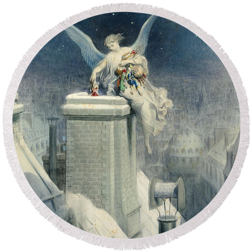Christmas Round Beach Towel featuring the painting Christmas Eve by Gustave Dore