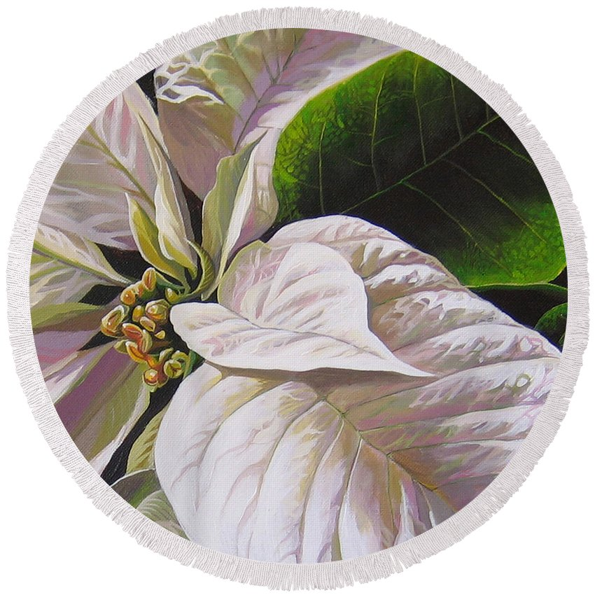 White Poinsettia Round Beach Towel featuring the painting Christmas Eve by Hunter Jay