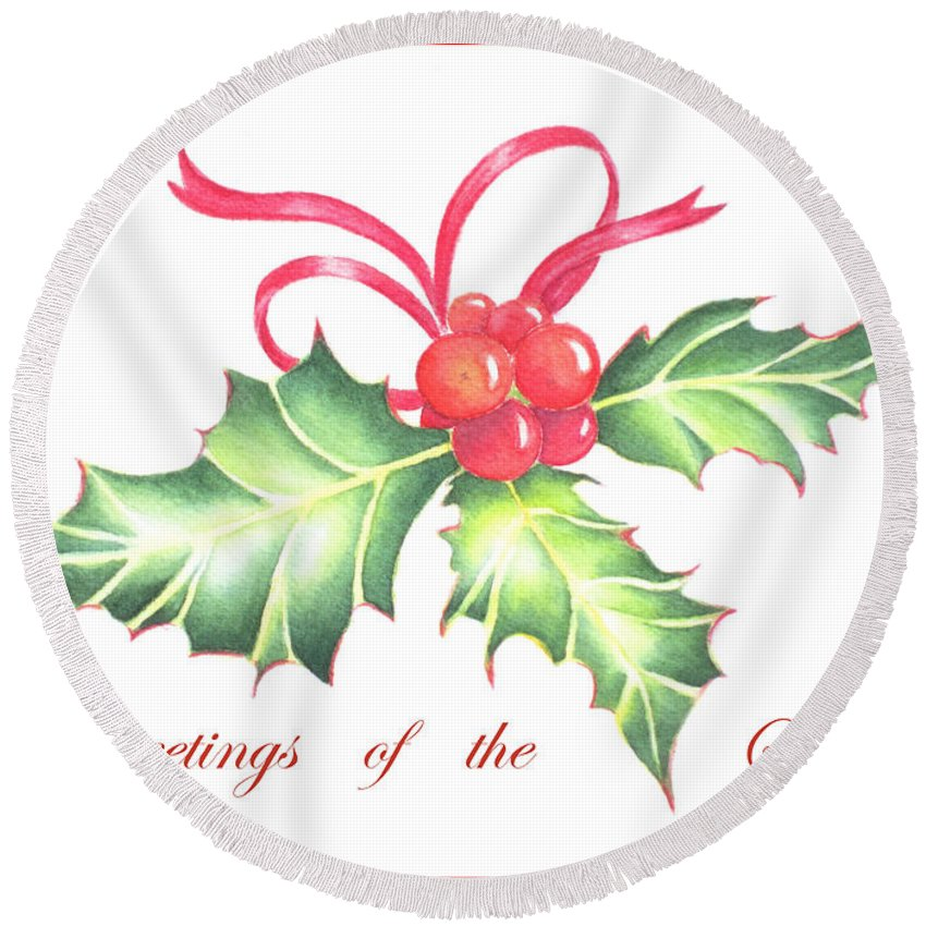 Holly Round Beach Towel featuring the painting Christmas Holly by Deborah Ronglien